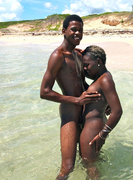 African couple fucks on seaside, his..