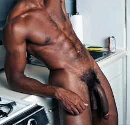 Naked black man, a giant black penis..
